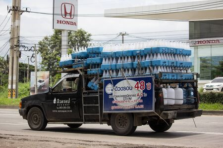 Chiangmai, Thailand - August 22 2019: Drinking water delivery truck of Dewdrop company. On road no.1001, 8 km from Chiangmai city.