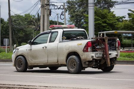 Chiangmai, Thailand - August 22 2019: Private Tow truck for emergency car move. Photo at road no 121 about 8 km from downtown Chiangmai, thailand.