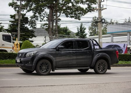 Chiangmai, Thailand - August 29 2019: Private Pickup car, Nissan Navara. On road no.1001, 8 km from Chiangmai Business Area.
