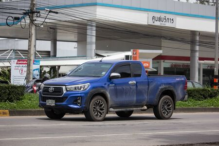 Chiangmai, Thailand - August 29 2019:  Private Pickup Truck Car Toyota Hilux Revo. On road no.1001, 8 km from Chiangmai city.