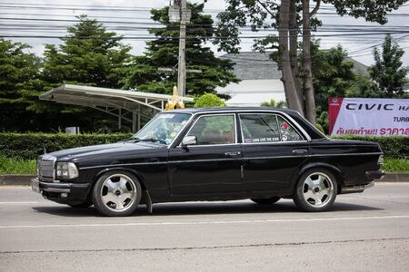 Chiangmai, Thailand - August 29 2019: Private old car of Mercedes Benz 230E. Photo at road no.1001 about 8 km from downtown Chiangmai thailand.