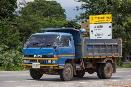 Chiangmai, Thailand - September 6 2019: Private Isuzu Dump Truck. On road no.1001 8 km from Chiangmai Business Area.