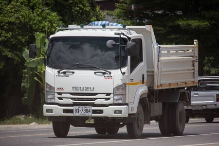 Chiangmai, Thailand - September 6 2019: Private Isuzu Dump Truck. On road no.1001 8 km from Chiangmai Business Area.
