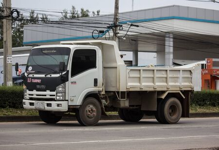 Chiangmai, Thailand - September 19 2019: Private Isuzu Dump Truck. On road no.1001 8 km from Chiangmai Business Area.
