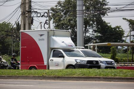 Chiangmai, Thailand - September 24 2019: Truck of Thailand Post. Photo at road no.121 about 8 km from downtown Chiangmai, thailand.