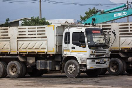 Chiangmai, Thailand - September 23 2019: Private Isuzu Dump Truck. On road no.1001 8 km from Chiangmai Business Area.