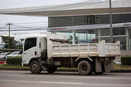 Chiangmai, Thailand - September 19 2019: Private Isuzu Dump Truck. On road no.1001 8 km from Chiangmai Business Area.