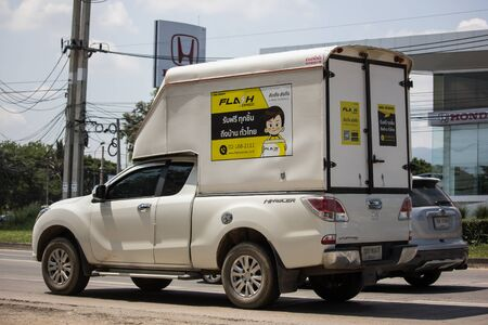 Chiangmai, Thailand -  October 3 2019: Flash Express logistic Container Pickup truck.   Photo at road no 121 about 8 km from downtown Chiangmai, thailand.