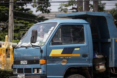 Chiangmai, Thailand - September 24 2019: Private Isuzu Dump Truck. On road no.1001 8 km from Chiangmai Business Area.