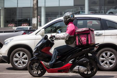 Chiangmai, Thailand -  October 1 2019: Delivery service man ride a Motercycle of Food Panda. On road no.1001, 8 km from Chiangmai city. 에디토리얼