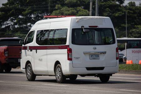 Chiangmai, Thailand -  October 1 2019:  Police Van car of Royal Thai Police. On road no.1001, 8 km from Chiangmai city.