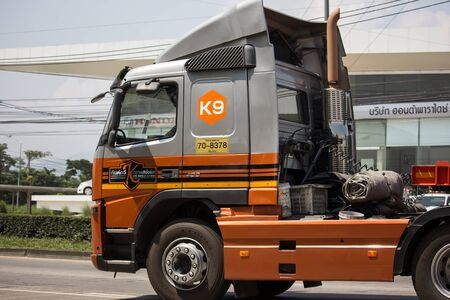 Chiangmai, Thailand -  October 1 2019: Trailer Container Cargo Truck of Kankawee Transport Company. Photo at road no.1001 about 8 km from city center, thailand.