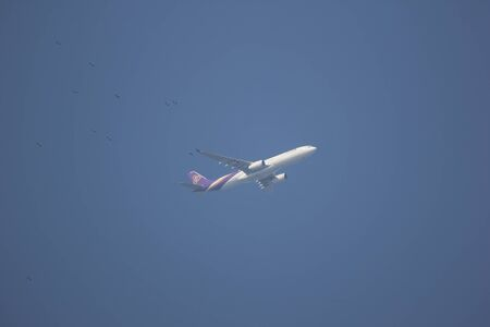 Chiangmai, Thailand - September 28 2019: HS-TBC  Airbus A330-300 of Thaiairway. Take off from Chiangmai airport to Bangkok.