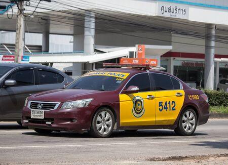 Chiangmai, Thailand -  October 1 2019: Highway Police Car. Honda Accord.  On road no.1001, 8 km from Chiangmai city.