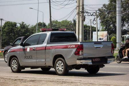 Chiangmai, Thailand -  October 1 2019: Police car of Royal Thai Police. Photo at road no.121 about 8 km from downtown Chiangmai, thailand.