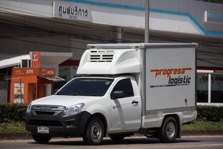 Chiangmai, Thailand -  October 3 2019: Container truck of Progress  Logistics Transportation company. Photo at road no.121 about 8 km from downtown Chiangmai thailand.