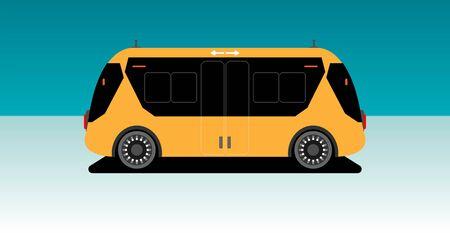 Autonome sans conducteur à l'intérieur du mini bus de l'aéroport