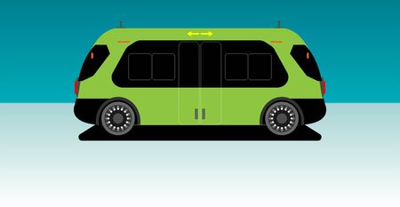 Driverless Autonomous inside Airport mini bus Ilustração Vetorial