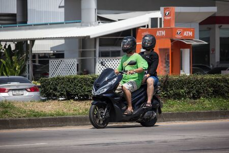 Chiangmai, Thailand - September 30 2019: Private Honda Motorcycle, PCX 150. On road no.1001, 8 km from Chiangmai Business Area.
