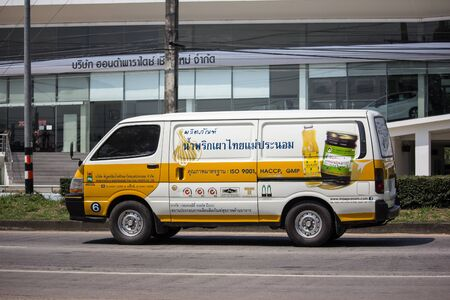 Chiangmai, Thailand - September 30 2019: Van Cargo Car of Phiboonchai Maepranom Thai Chili Paste. Photo at road no 121 about 8 km from downtown Chiangmai, thailand.