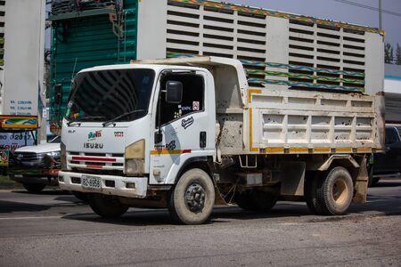 Chiangmai, Thailand -  October 1 2019: Private Isuzu Dump Truck. On road no.1001 8 km from Chiangmai Business Area.