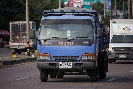 Chiangmai, Thailand -  October 10 2019: Private Isuzu Dump Truck. On road no.1001 8 km from Chiangmai Business Area.
