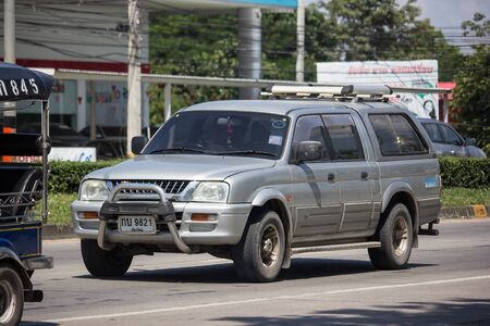 Chiangmai, Thailand -  October 8 2019: Private Old Pickup car, Mitsubishi Strada. On road no.1001, 8 km from Chiangmai Business Area. Stock Photo - 133171725