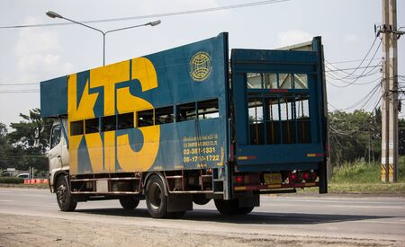 Chiangmai, Thailand - October 10 2019: KTS Transport & Services Motorcycle Shipping Transportation Truck. On road no.1001, 8 km from Chiangmai city.