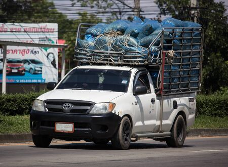 Chiangmai, Thailand -  October 8 2019: Private Toyota Hilux Vigo  Pickup Truck.  On road no.1001 8 km from Chiangmai city.