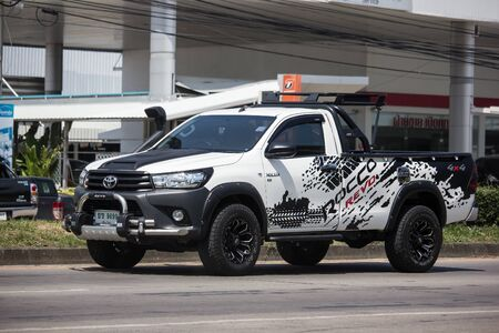 Chiangmai, Thailand - October 10 2019: Private Pickup Truck Car Toyota Hilux Revo. On road no.1001, 8 km from Chiangmai city.