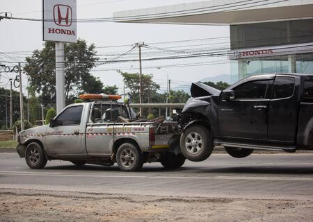 Chiangmai, Thailand -  October 25 2019: Jaruen Sab Tow truck for emergency car move. Photo at road no 121 about 8 km from downtown Chiangmai, thailand.