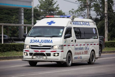Chiangmai, Thailand -  October 25 2019: Ambulance van of Sansai hospital.  On road no.1001, 8 km from Chiangmai city. Editorial