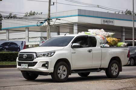 Chiangmai, Thailand - November 8 2019: Private Pickup Truck Car Toyota Hilux Revo. On road no.1001, 8 km from Chiangmai city. Editorial
