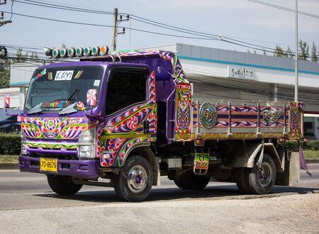 Chiangmai, Thailand - November 19 2019: Private Isuzu Dump Truck. On road no.1001 8 km from Chiangmai Business Area.