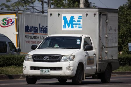 Chiangmai, Thailand - November 19 2019:  MM logistic Container Pickup truck.   Photo at road no 121 about 8 km from downtown Chiangmai, thailand.
