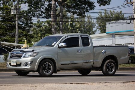 Chiangmai, Thailand - November 19 2019: Private Toyota Hilux Vigo  Pickup Truck.  On road no.1001 8 km from Chiangmai city.