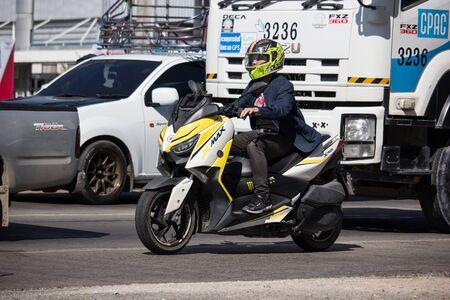 Chiangmai, Thailand - November 28 2019: Private Yamaha Motorcycle, X MAX. On road no.1001, 8 km from Chiangmai Business Area.