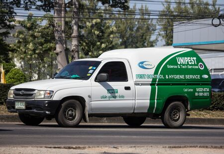 Chiangmai, Thailand - December 2 2019: Pick up truck of Unipest company. Service for control pest in home and Building. Photo at road no.1001 about 8 km from city center, thailand.