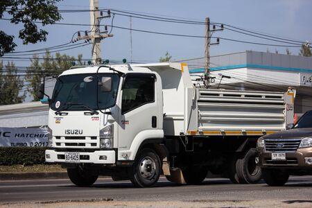 Chiangmai, Thailand - December 2 2019: Private Isuzu Dump Truck. On road no.1001 8 km from Chiangmai Business Area.