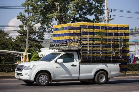 Chiangmai, Thailand - December 2 2019: Private Isuzu Dmax Pickup Truck. On road no.1001 8 km from Chiangmai city.