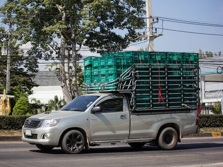 Chiangmai, Thailand - December 2 2019: Private Toyota Hilux Vigo  Pickup Truck.  On road no.1001 8 km from Chiangmai city. Editorial