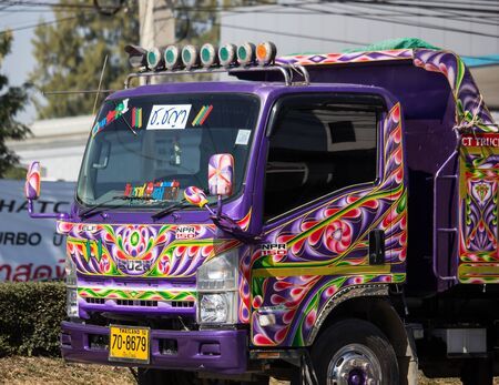Chiangmai, Thailand - December 7 2019: Private Isuzu Dump Truck. On road no.1001 8 km from Chiangmai Business Area. Editorial