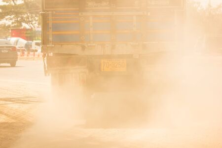 Chiangmai, Thailand - February 7 2020: PM 2.5 from emissions and dust from trucks. On chiangmai highway road.
