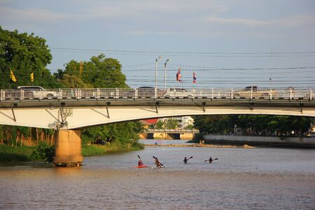 Chiangmai, Thailand -June 11 2014: Canoe and Kayak in Ping River.