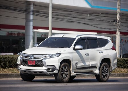 Chiangmai, Thailand - December 12 2019: Private Mitsubishi New Pajero Suv Car. On road no.1001 8 km from Chiangmai city.