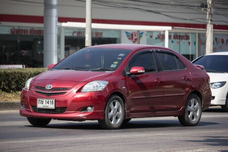 Chiangmai, Thailand - December 12 2019:  Private Sedan car Toyota Vios. On road no.1001 8 km from Chiangmai Business Area. Editorial