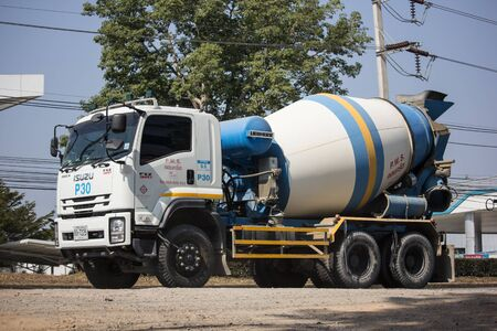 Chiangmai, Thailand - December 12 2019: Isuzu Deca Cement truck of PWS Concrete. Photo at road no 1001 about 8 km from downtown Chiangmai, thailand.