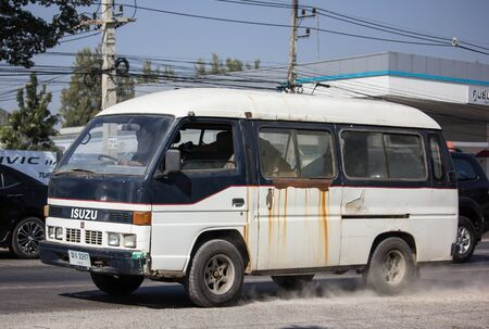 Chiangmai, Thailand - December 16 2019: Private old isuzu ELF van. Photo at road no.1001 about 8 km from city center, thailand.