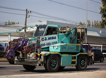 Chiangmai, Thailand - December 24 2019: Kobelco Crane Truck of CJ Crane Company. Photo at road no 121 about 8 km from downtown Chiangmai, thailand. Editorial
