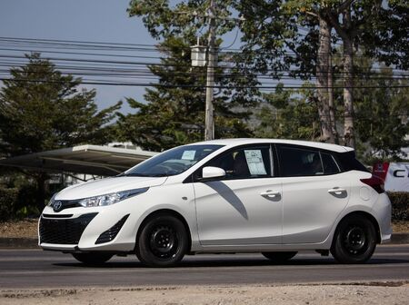 Chiangmai, Thailand - January 7 2020: New Private Car toyota Yaris Hatchback Eco Car.  Photo at road no 121 about 8 km from downtown Chiangmai thailand.